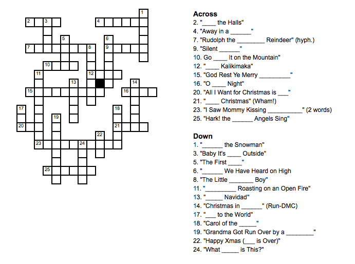 Christmas Music Crossword Puzzle Clues