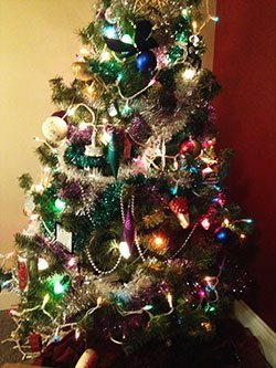 a very tacky christmas tree.
