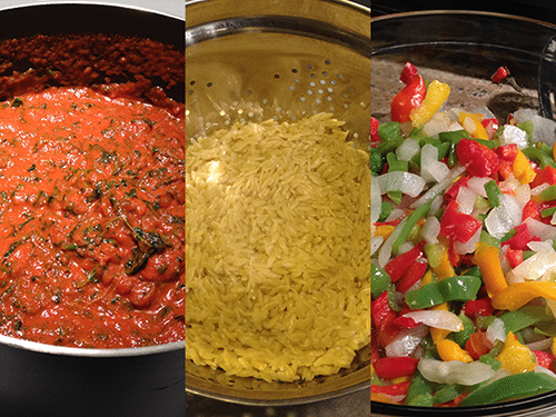Image of pasta sauce, pasta, and vegetables cooking.