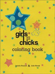 yellow book cover entitled Girls Are Not Chicks with blue and pink stars