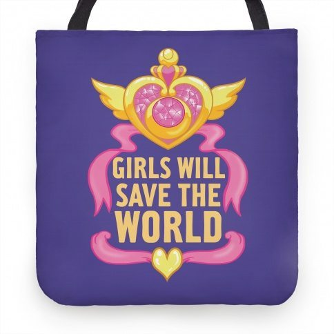 "Blue tote bag with a gold winged heart and pink ribbons that says ""girls will save the world"""