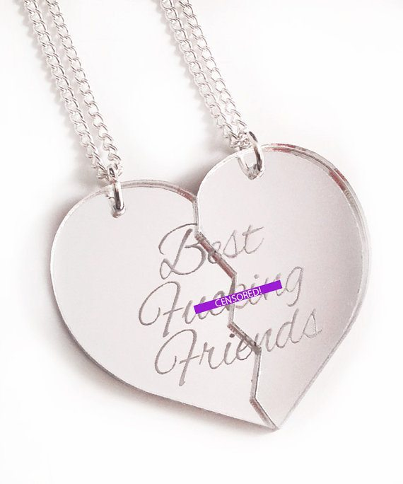 "silver broken heart necklace that says ""Best Fucking Friends"" with two chains"