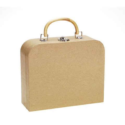 Picture of a satchel-style paper mache craaft box. Via consumercrafts.com
