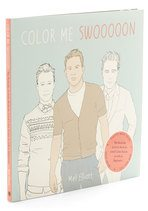 book cover with drawings of Channing Tatum, Robert Pattinson, and Joseph Gordon Levitt entitled Color Me Swoon