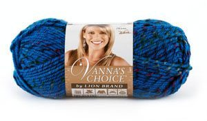 A skein of blue Vanna's Choice yarn.