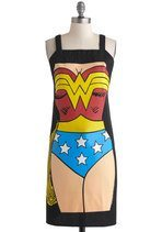 photo of a black apron with Wonder Woman costume printed on it