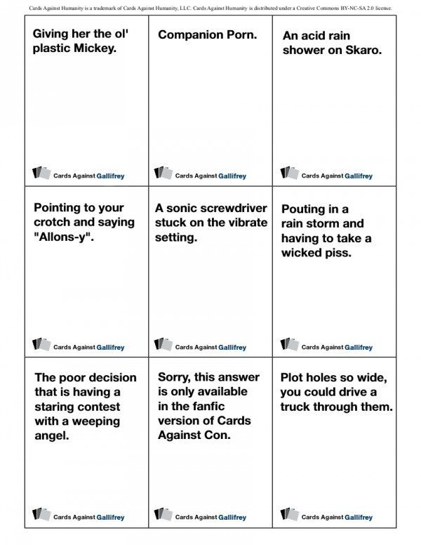 Cards Against Gallifrey example