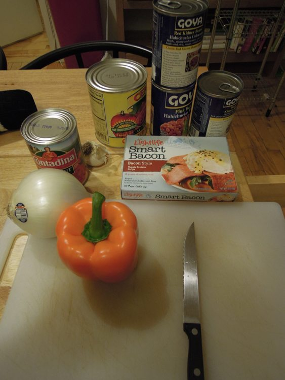 A picture of the ingredients for vegan bacon chili.