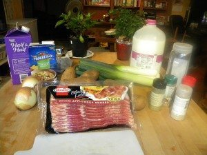 ingredients for leek and potato soup