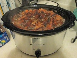 Picture of a crockpot with cooked bean soup