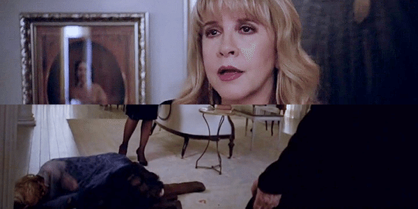 "Misty Day lies on the floor while Stevie Nicks looks on in American Horror Story: Coven episode 3x10, ""The Magical Delights of Stevie Nicks."""