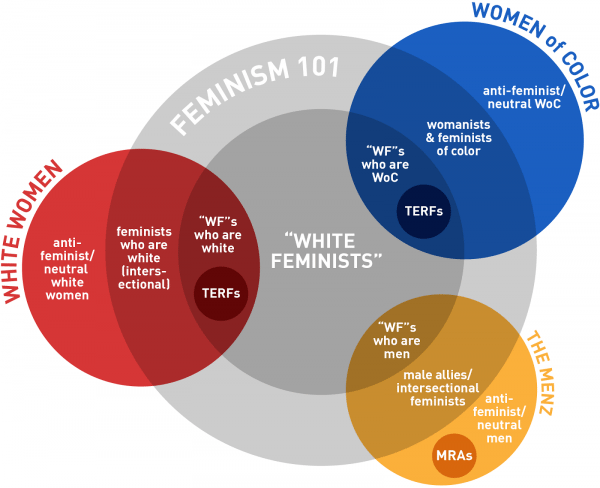 A venn diagram outlining how white women, women of color, and men intersect with the descriptions White Feminists, Feminism 101, and those against or neutral towards feminism as defined in the article.