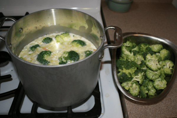 Broccoli cheddar soup, halfway through cooking