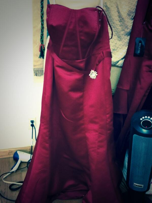 A picture of a red bridesmaid dress.