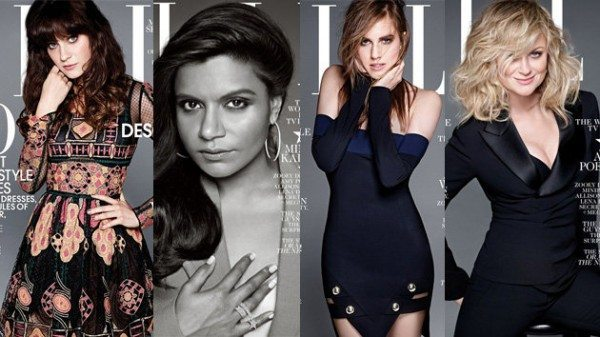 Composite of ELLE covers, showing Zooey Deschanel, Mindy Kaling, Allison Williams, and Amy Poehler