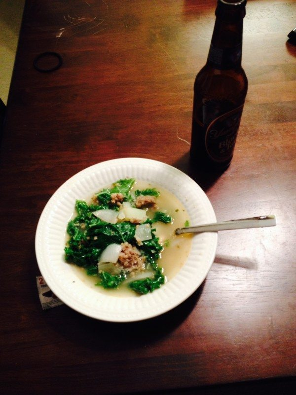 A picture of a bowl of Tuscan white bean and kale soup