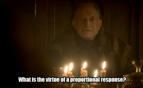 "Screenshot of Walder Frey from Game of Thrones, with West Wing Quote ""What is the value of a proportional response?"" superimposed on it."