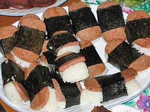 Platter of Spam Musubi.