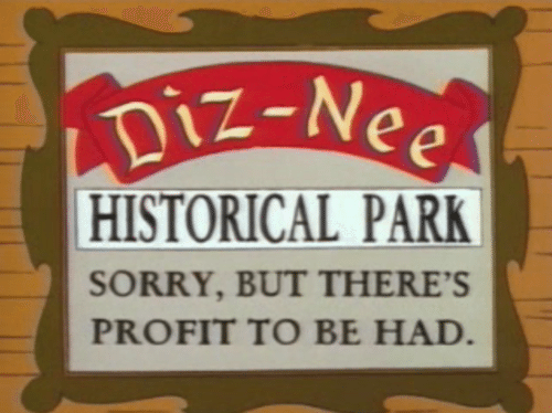 "A picture from ""The Simpsons"" of a sign reading ""Sorry, but there's profit to be had."""