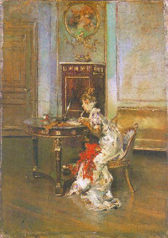 Painting: Young Woman Writing, by Giovanni Boldini