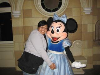 Me dressed as Minnie Mouse during a special anniversary year for Disneyland.