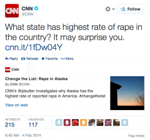 "Tweet by CNN reading, ""What state has highest rate of rape in the country? It may surprise you. """