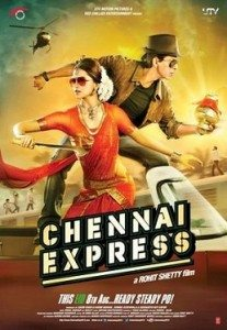 Movie poster for Chennai Express, featuring a woman in a sari and sunglasses, and a man in a brown jacket, jeans, and sunglasses