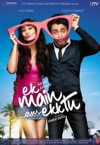 Movie poster for Ek Main Aur Ekk Tu featuring a woman and man holding up an oversized pair of glasses