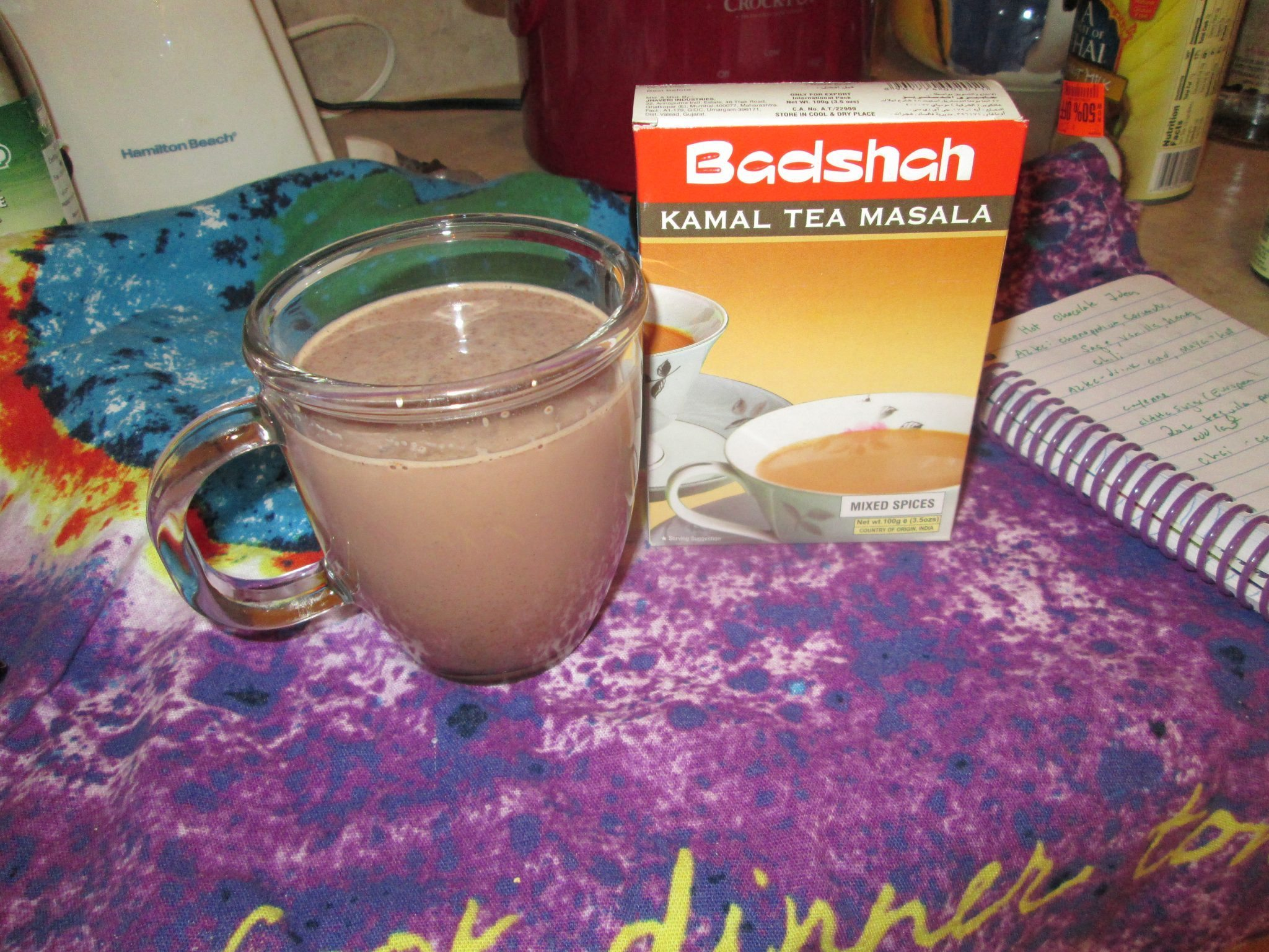 Chai hot chocolate and Badshah Kamal Tea Masala. There was a cinnamon ...