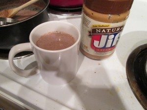 Peanut butter hot chocolate. Yum.