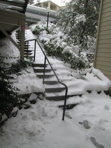 A set of stairs covered in snow.