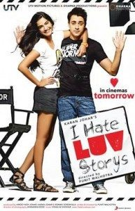 Movie poster for I Hate Luv Storys, featuring a smiling woman hugging a shrugging man