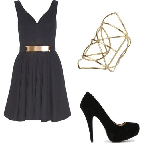 Polyvore set with a black short dress with gold metal belt, black heels, and a gold geometric cuff