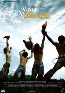Rang de Basanti poster showing four men jumping in the air, with no shirts on