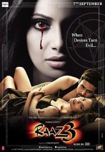 Movie poster for Raaz 3 showing a woman with a bloody tear rolling down her cheek and a couple in bed.