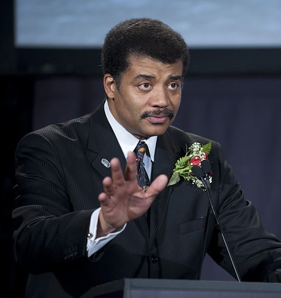 Neil Gaiman Tyson, who owes me money and has garish holiday decorations (Photo does not have copyright because it was provided by NASA)