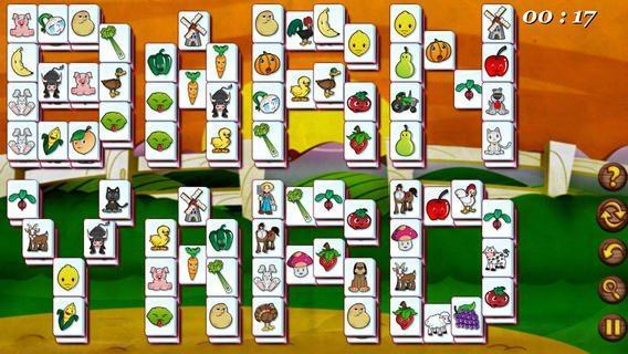"""Screencap from Barnyard Mahjong of farm-themed mah jongg tiles spelling out """"barn yard"""""""