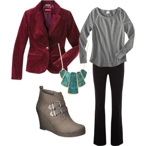 Polyvore set with dark red blazer, grey thermal long sleeve, grey booties and turquoise and gold necklace