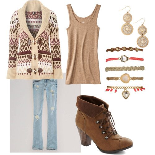 Polyvore set with maroon, beige, and cream Fair Isle cardigan, beige tank, light ripped jeans, brown heeled boots, 5 multicolored bracelets and cream and rhinestone drop earrings