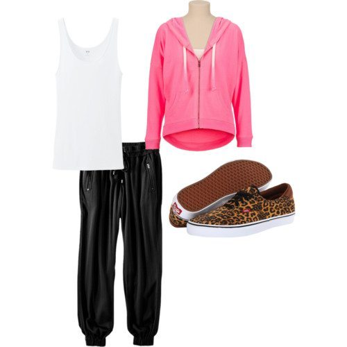 Polyvore set with hot pink zip-up hoodie, black sweats, white tank and leopard print sneakers