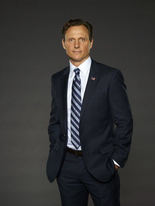 Promotional photo of Tony Goldwyn as Fitz, wearing a dark suit and striped tie