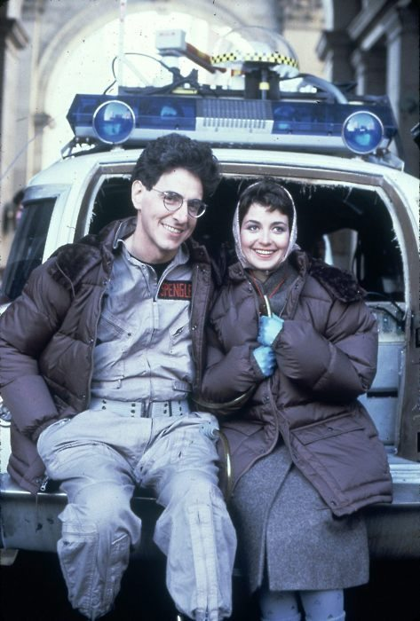 Harold Ramis and Annie Potts relaxing on the set of Ghostbusters