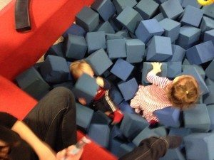 Twins in foam block pit.