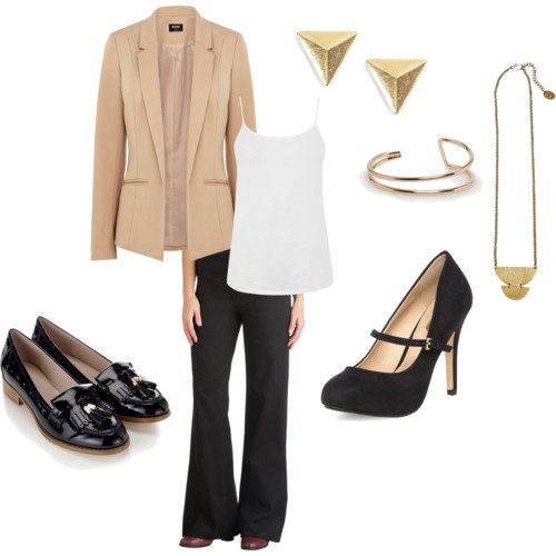 Polyvore set with tan blazer, black pants, black loafers, black mary jane pumps, triangle stud earrings, gold bangle, white tank, gold necklace