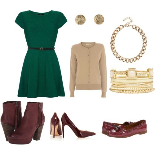 polyvore set with dark green dress, beige cardigan, gold stud earrings, , chunky gold necklace, gold bangles, maroon booties, maroon heels, maroon loafers