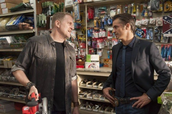 Raylan Givens and Daryl Crowe having a chat in Mike's hardware store