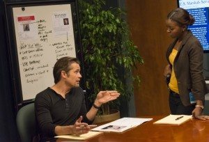 Rachel and Raylan having a conversation in US Marshal headquarters