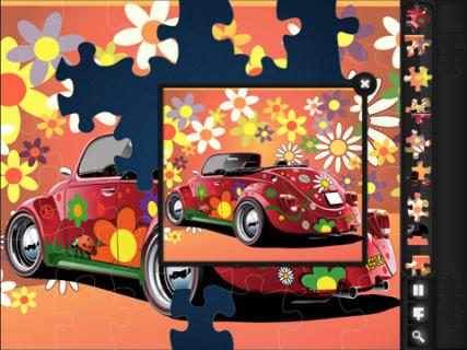 Screencap from Magic Jigsaw Puzzles of a partially completed puzzle of a VW Beetle