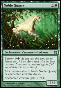 "A green Magic: The Gathering card featuring a white unicorn and the title ""Noble Quarry"""