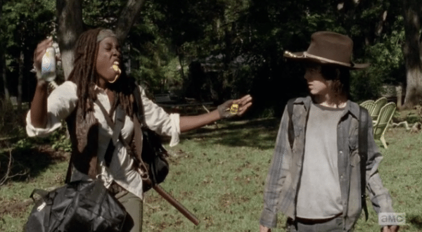 Michonne with a mouthful of spray cheese.